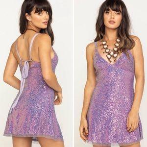 Free People Gold Rush Mini Lilac Purple Dress L